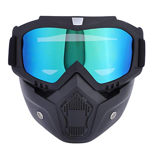 Cocoarm Motorradbrille mit abnehmbarer Gesichtsmaske abnehmbare beschlagfreie Brille Motorrad Schutzbrille Staubschutz Brille Motorrad Gesichtsmaske für Fahrrad Motocross (Bunt) -