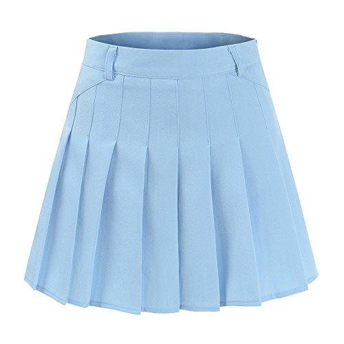 Ourlove Fashion School Pleat Uniform Pleated Skirt Slim Thin Pleated Skater Tennis Skirts Mini Dress With Inner Shorts (UK 8 (Tag M), Blue)