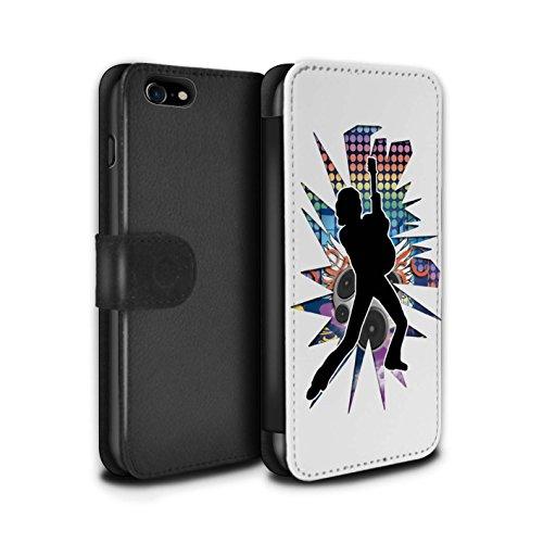 Stuff4 Coque/Etui/Housse Cuir PU Case/Cover pour Apple iPhone 7 / Chanteur Noir Design / Rock Star Pose Collection Pencher Blanc
