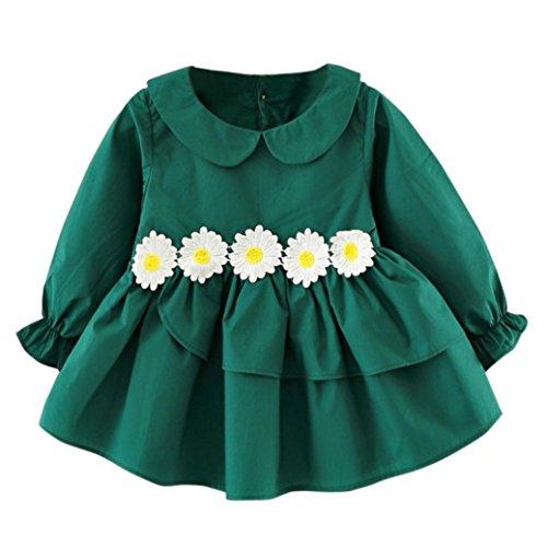 6 Flower Mädchen-top (Mädchen kleid, Honestyi Herbst Winter Kids Baby Mädchen Flower clothes Langarm Party Princess kleid (Grün, 6M/70CM))