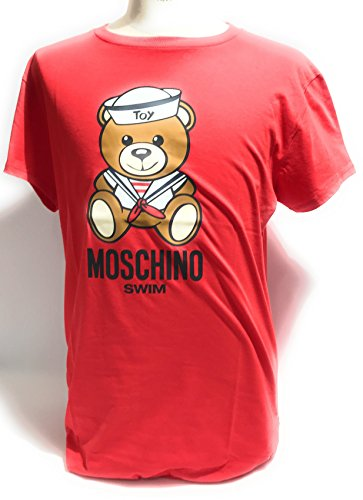 Moschino t-shirt girocollo unisex swim logo teddy bear sailor col. rosso ae18mo18