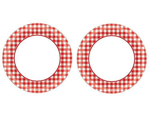 Picknick rot gingham Bordüre rund Klassische Einweg Teller Party Geschirr, Papier, 15,2cm Value Pack 80