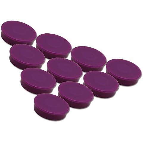 Juego de 10 imanes lilas - Ø 24 mm - imanes de oficina redondos violetas con una fuerza de adhesión de 300 g en pizarras blancas tableros magnéticos tablones de notas refrigeradores
