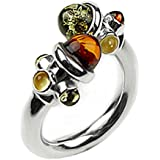 Multicolor Amber and Sterling Silver Designer Ring All Sizes Available