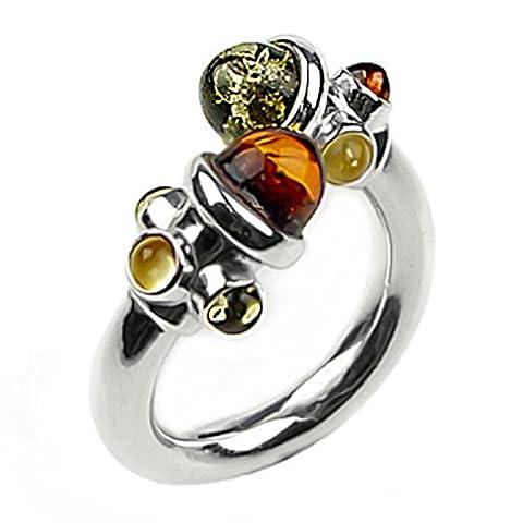 Noda bague en ambre multicolore et argent concepteur taille