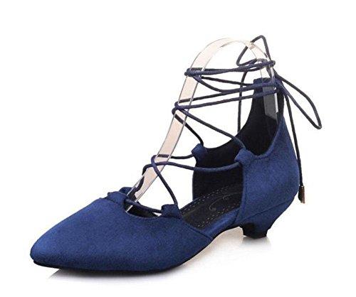 GLTER Frauen Knöchelriemen Pumps Wildleder Spitz Sandalen Seite leere Riemen Gericht Schuhe Blue