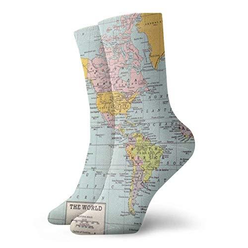 Zhengzho Socken atmungsaktiv Weltkarte - Vintage Crew Socke exotische moderne Frauen & Männer gedruckt Sport athletische Socken 30 cm (11,8 Zoll) - Frauen Athletische Socken