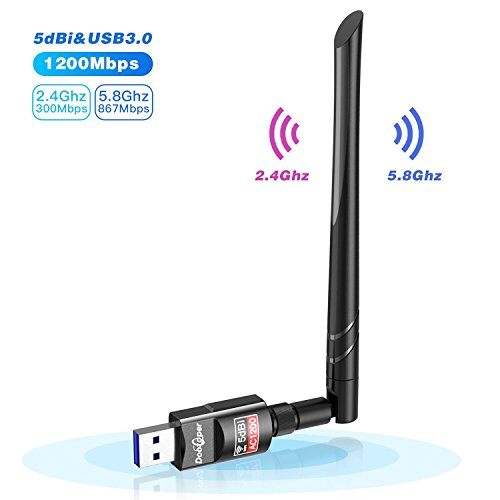 Wifi Adapter, 1200Mbit/s mit 5dBi Antenna, Dualband (5G/866Mbps + 2.4G/300Mbps) Wlan Stick, USB Wifi Dongle 802.11 ac/n/g/b/a Wireless Standards, Kleine WiFi-Empfänger für Desktop/PC/Laptop/Notebook