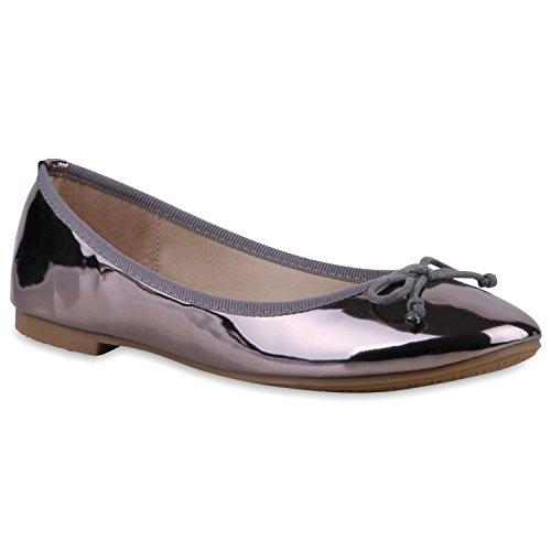 Klassische Damen Ballerinas Lederoptik Flats Freizeit Schuhe Übergrößen Schwarz Metallic Schleife