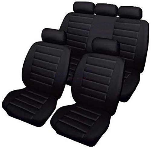 XtremeAuto® WLW2 - XAcarreraseatcovers Black, Leather Look, Carrera Car Seat Covers Set. Compatible With Seat Belts, Armrests