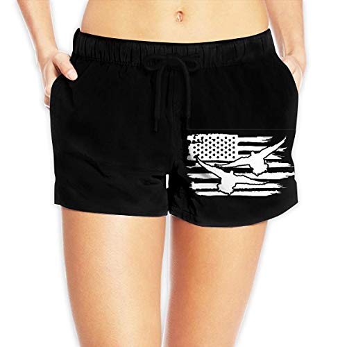 ZKHTO American Flag Duck Drake Hunting Decoy Tea Women Summer Beach Shorts Beach Board Shorts,Size:XL -