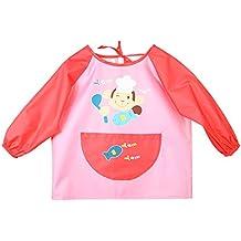 Happy Cherry Babi Delantal Impermeable Blusón con Mangas Largas para Bebés Niñas para Comer Jugar Pintar