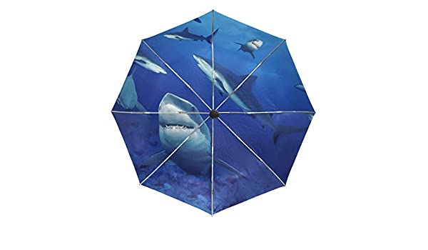 Purase Windproof Travel Compact Umbrella Anti UV with Shark picture Ergonomic Slip-Proof Rubberized Handle Pink