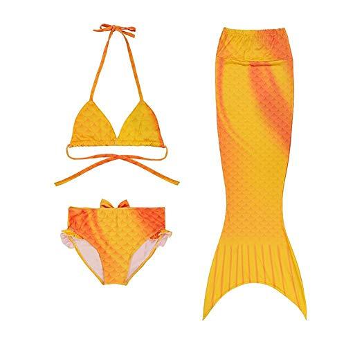 Meerjungfrau Schwanz Mit Meerjungfrau Badeanzug Schwanzflosse, Meerjungfrau Schwanz Badeanzug Set,Zum Schwimmen Kostüm Für Kinder Mädchen Bikini Set , 3 Stück Set ( Color : Orange , Size : 120cm )