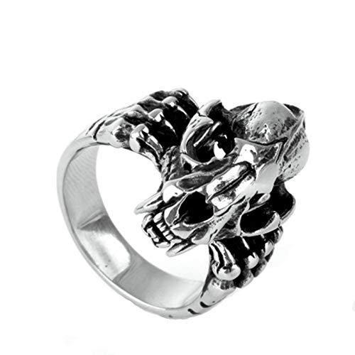 Beydodo 925 Silber Ring Männer Totenkopf Dinosaurier Freundschaftsringe Silber Ring Herren Große 54 (17.2)