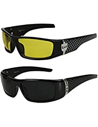 2er Pack Locs 9069 X03 Sonnenbrillen Motorradbrille Sportbrille Radbrille in der Farbe schwarz