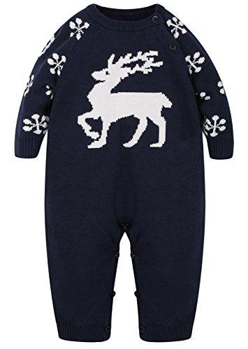 ZOEREA Baby Mädchen Junge Neugeborenes Strick Strampler Lange Ärmel Watte Weihnachten warme Pullover mit Elch Hirsche Schneeflocke Muster Mantel (Lustige Kostüme Größentabelle)