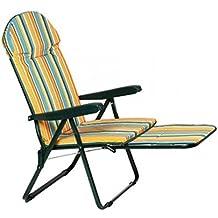 Sillón silla tumbona de acero con alargador extraíble Asas de plástico