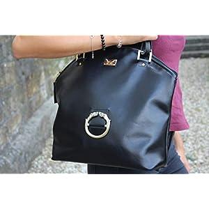 große schwarze Henkeltasche Lederhandtasche Damenhandtasche