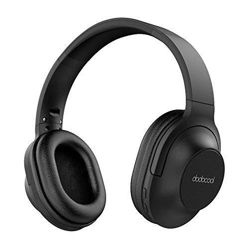 dodocool Cascos Auriculares Inalámbricos Bluetooth con Micrófono, Auriculares de Diadema y Cable, Hi-Fi Transmisión, Recargables, Plegables, 10 Horas de Juego Para Computadora TV Travel - Negro