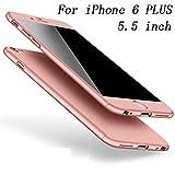 Coque iPhone 6S PLUS Coque iPhone 6 PLUS 360 Protection PC 3 en 1 Full Cover Adamark Housse Integrale Bumper Etui Case Protège Écran en Verre Trempé Pour iPhone 6S/6 PLUS (Or Rose)