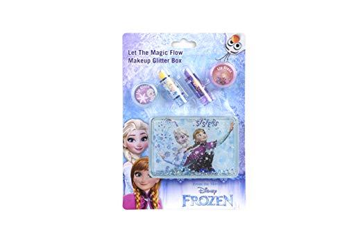 Make-Up Glitzer Box im Frozen-Design mit 2x Lipgloss rosa + lila, 2x Lippenstift orange + lila -...