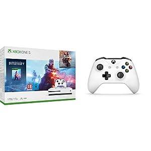 Microsoft Xbox One S 1TB – Battlefield V Bundle + Microsoft Xbox Wireless Controller, Weiß