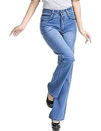 Reveryml Mujer Vaqueros Tallas Grandes Elastic Plus Size Pantalones de  Campana con Pantalones Bajos Pantalones de 478576a1e12d