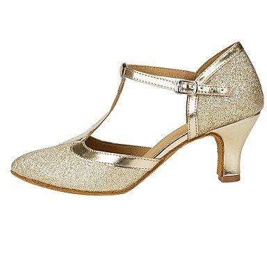 XIAMUO Anpassbare Damen Tanz Schuhe funkelnden Glitter Salsa Sandalen Fersen angepasste Ferse Performance Gold Gold