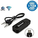 Captcha Bluetooth Stereo Adapter Audio Receiver 3.5Mm Music Wireless Hifi Dongle Transmitter USB MP3 Speaker Colour-Black/White Suitable With All Android Or Iphone Devices (1 Year Warranty, Color May Vary)