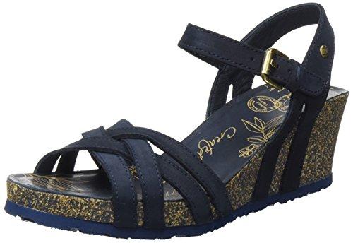 Panama Jack Damen Vera Basics Offene Sandalen mit Keilabsatz, Blau (Navy), 40 EU -