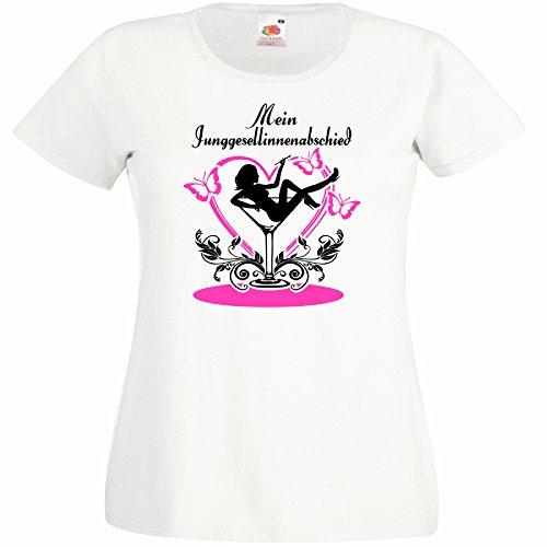 Shirtoo Damen T-Shirt Burlesque IM Cocktailglas - Mein Junggesellinnenabschied für Den Junggesellenabschied (Frauen/Braut) in Weiss, Größe ()
