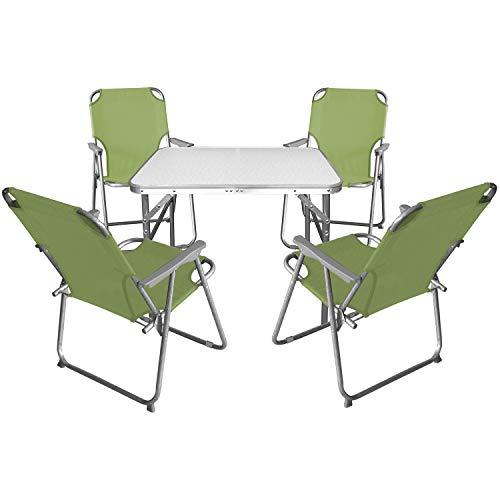 Multistore 2002 5tlg. Campingmöbel Set Klapptisch, Aluminium, 55x75cm + 4X Campingstuhl mit Armlehnen, klappbar, Jade Grün/Campinggarnitur -