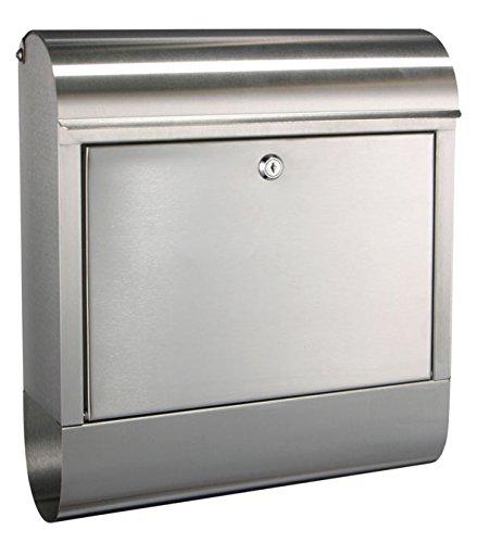 Edelstahl Briefkasten - Postkasten - mit Zeitungsfach Schloss mit 2 Schlüsseln und selbstklebenden Aluminium-Namensschild - Materialstärke: 0,8 mm