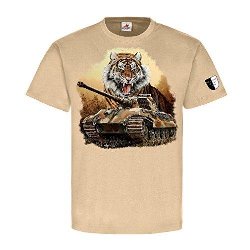 Lukas Wirp Königstiger Tiger II Panzer Köti Kunst Gemälde T Shirt 1#23469, Größe:L, Farbe:Sand