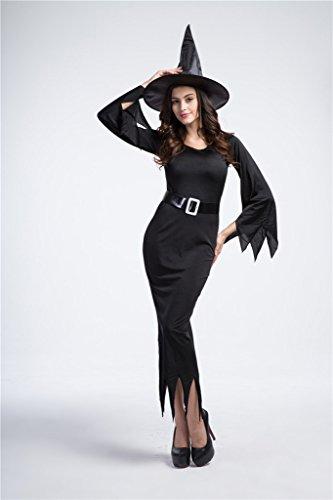 Bigood Femme Déguisement Cosplay Sorcière Horreur Pour Halloween Noir