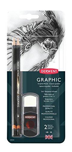 Derwent GRAPHIC Bleistift mit 2-in-1-Spitzer und Radiergummi-Set -