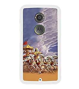 Fiobs Designer Back Case Cover for Motorola Moto X2 :: Motorola Moto X (2nd Gen) (Krishna Arjun Rath Attack White Orange )