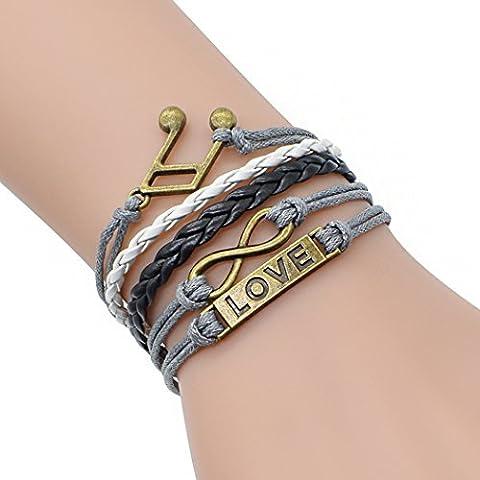 temps Usurier Bronze Note de musique Amour Lucky 8multicouche réglable Mode tressé Bracelet