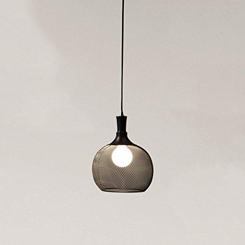 Modeen Industry Hollow Iron Steel Network Lampshade Plafond Pendentif Light Black Bird Cage Ball Lustre réglable pour le restaurant Bar Café Buffet I