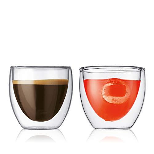 Bodum 4557-10 pavina 2-teiliges Gläser-Set (Doppelwandig, Isoliert, Mundgeblasen, 0,08 liters) transparent