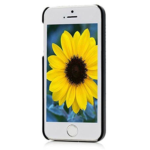 MAXFE.CO iPhone 5/iPhone 5S/iPhone SE Coque Noir de Dessin Original en PC Rigide Case Cover pour iPhone 5/iPhone 5S/iPhone SE-Petit Coeur et Smile Mot Bleu + Stylet d'Ecran Tactile Bleu + Bouchon Anti Dessin 5