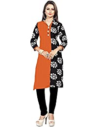 BanoRani Womens Orange & Black Color PolyCotton Printed Free Size UnStitched Kurti (KUR-5002)