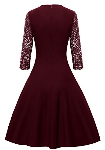 Gigileer Damen Kleider 3/4 Arm mit Spitzen Knielang Abendkleid Minikleid festlich Cocktail Party Burgundy M - 2