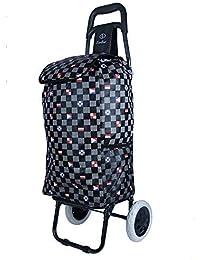EverBest Foldable Shopping Trolley Bag (Black Chess, Eva Wheel)