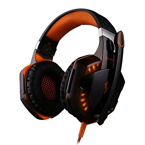 HermosaUKnight KOTION Each Stereo Gaming Headse Surround-Overhead-Kopfhörer mit LED-Licht - Schwarz-Orange