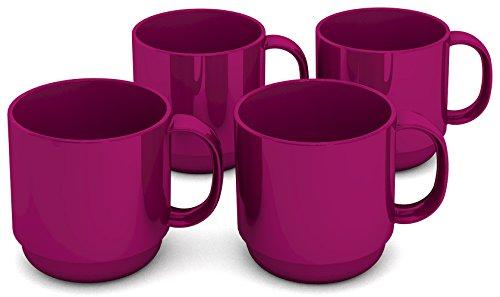 l brombeer, 4er Set | hochwertiger, stabiler Kaffeebecher aus Kunststoff mit Henkel (Kunststoff-becher Mit Henkel)