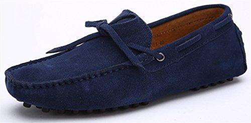 iLory Herren Mokassin Comfort Wildleder Loafers Schuhe Flache Fahren Halbschuhe Bootsschuhe Dark Blue