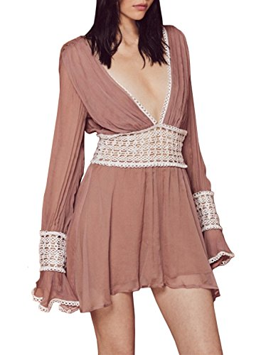 ACHICGIRL Women's Deep V Neck Long Sleeve Backless Hollow out Mini Dress Pink