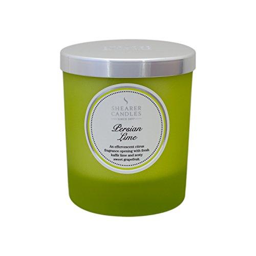 Decoragloba SCC743 - Vela con vaso de cristal, cera vegetal con esencia persian lime, 7,5 x 8,5 cm, color verde lima